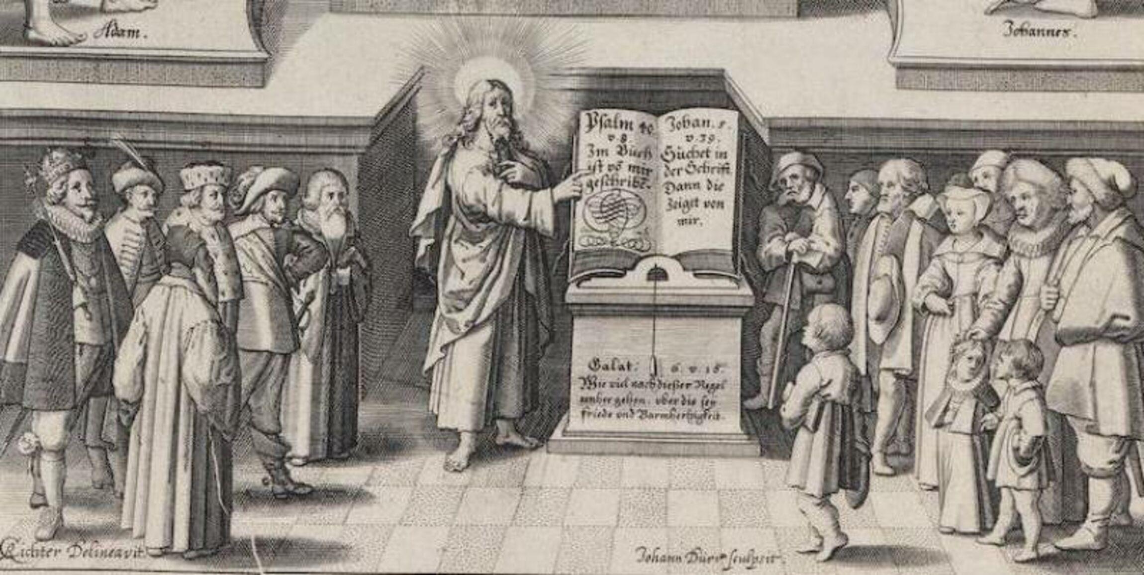 Christus als Lehrer.Ausschnitt aus einer Lutherbibel_1649