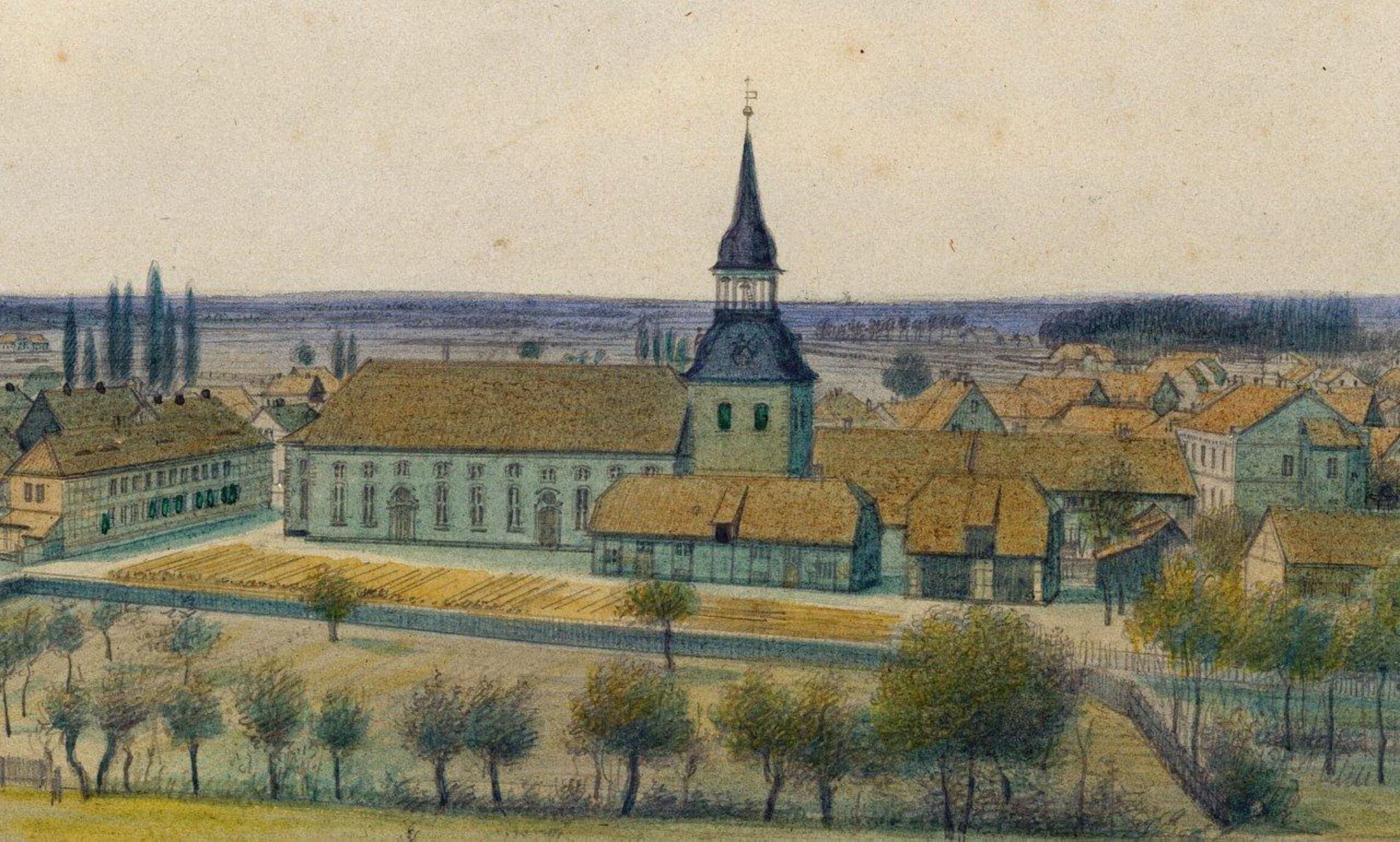 Blick vom Schloß auf Kirche um 1865