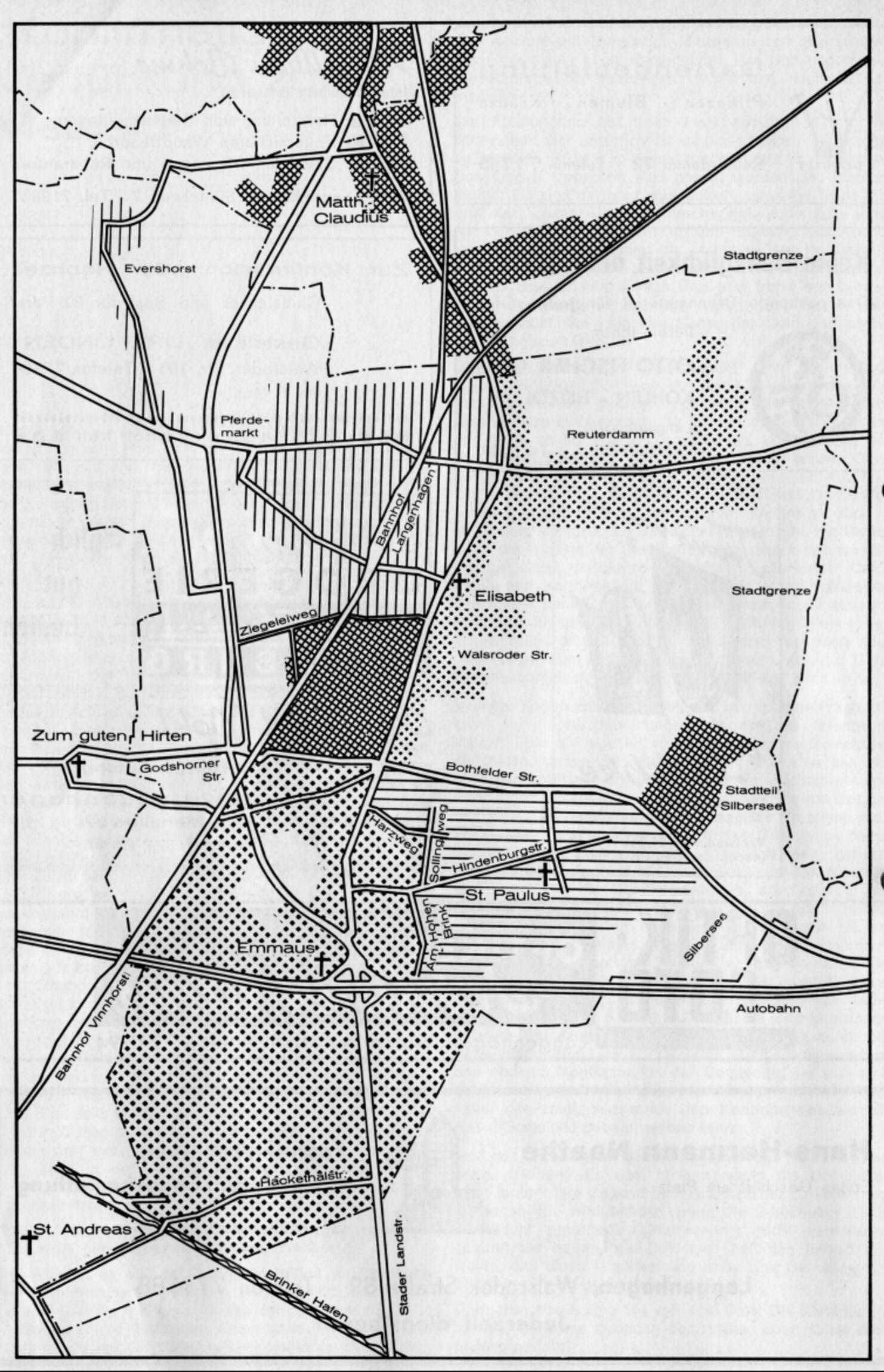 Gebietskarte der  Gemeinden in Langenhagen