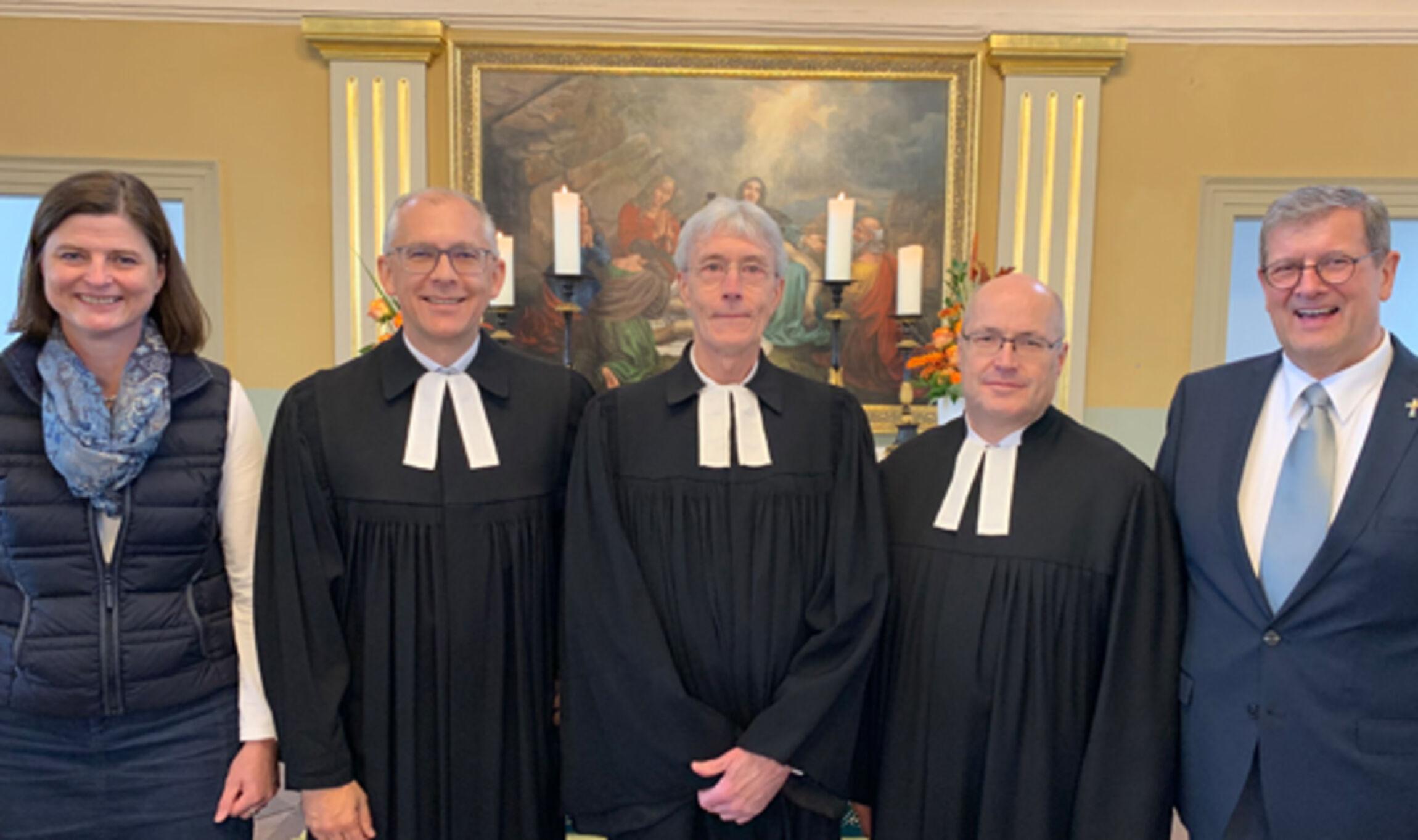 v.li.: Anette Klopp, Superintedent Christian Berndt, Pastor Rüdiger Kitzmann, Pastor Helmut Kramer, Hartmut Jakobs