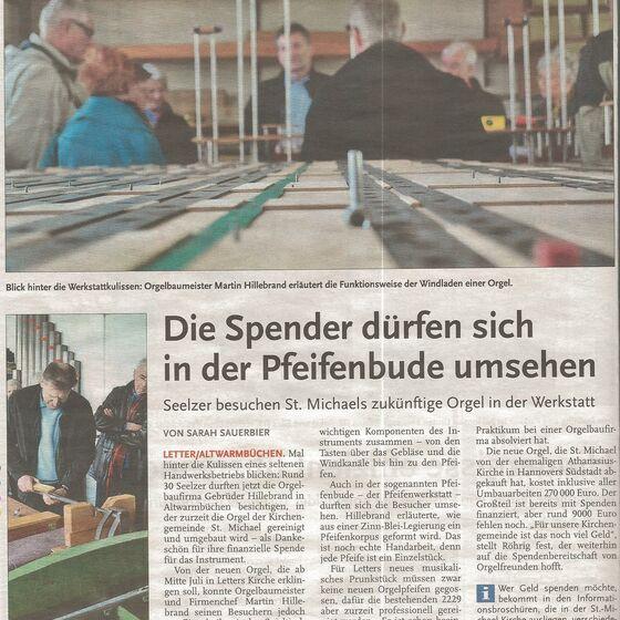 Werkstattbesichtigung - Bericht in der Leine-Zeitung vom 09.04.2014