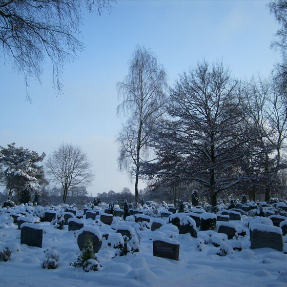 Gräber mit Schnee