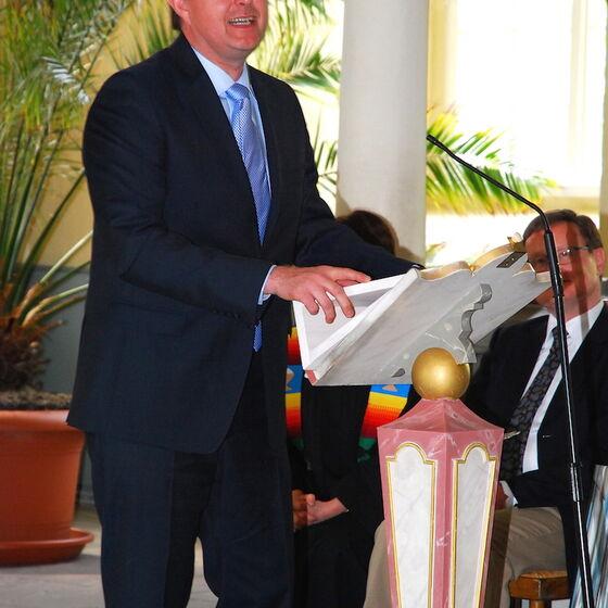 Neuer Amtsleiter Unrau bei seiner Begrüßungsansprache. Foto Ulla Evers