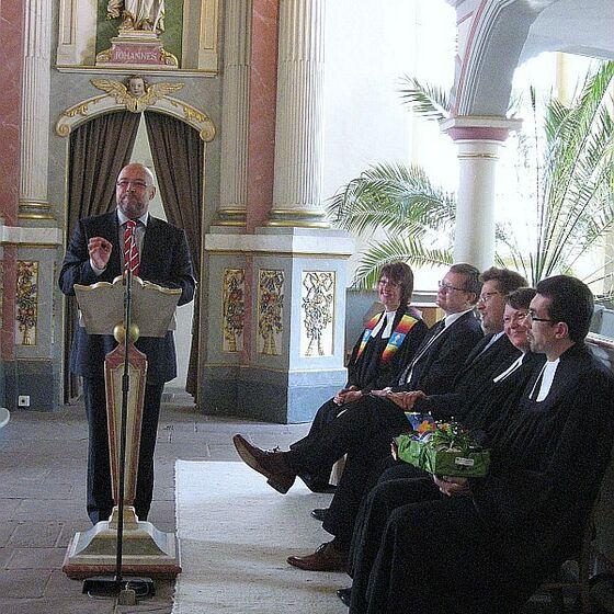 Grußworte von Pastor Hartmut Keitel für den Kirchenkreis Wolfsburg-Wittingen. Foto Holger Hermann