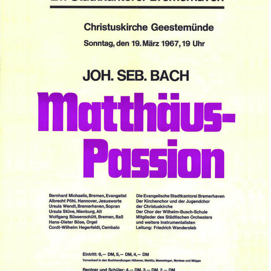 Plakat Matthäuspassion 1967