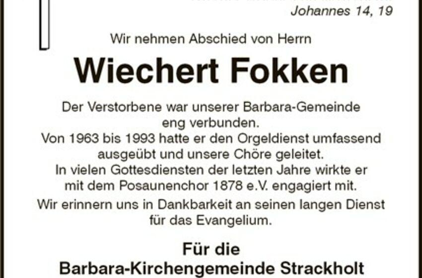 Trauer um Wiechert Fokken