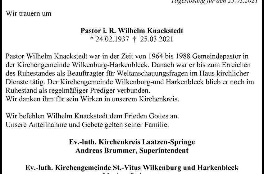 Traueranzeige Pastor Knackstedt