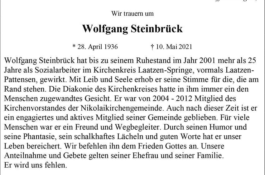 Traueranzeige Wolfgang Steinbrück