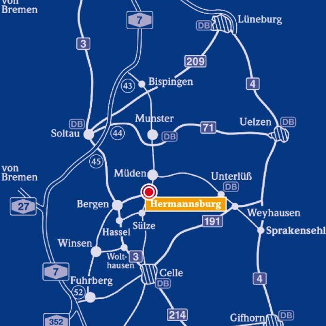 Karte von Hermannsburg und Umgebung
