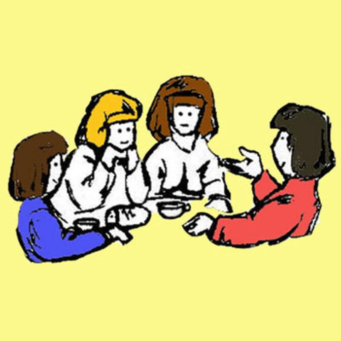 Zeichnung: Vier Frauen, die an einem Tisch beim Kaffeetrinken