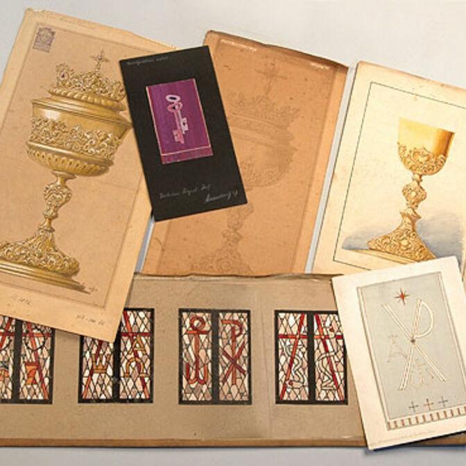 Entwürfe zu Glasfenstern, Abendmahlsgerät und Antependien (Ende 19.Jh. – ca.1960)