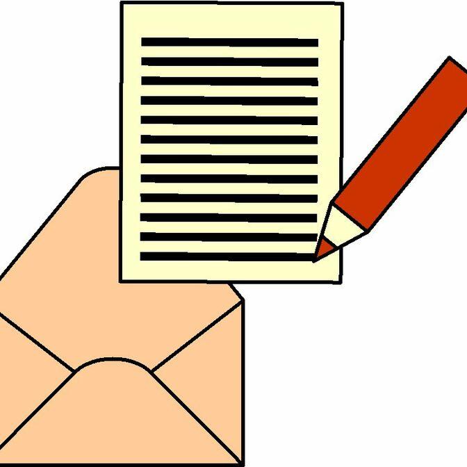 Brief schreiben und in Umschlag stecken