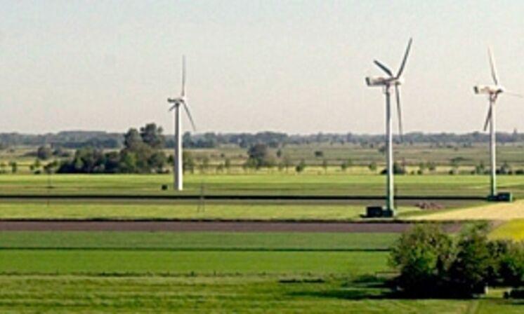 Windkrafträder in gelb-grüner Landschaft