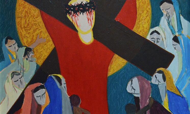Kreuzweg 09 Jesus begegnet den weinenden Frauen